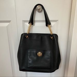 Tory Burch Black Leather Chelsea Chain Handle Tote